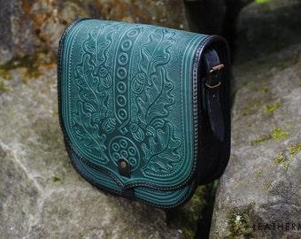 Leather messenger bag, Tooled leather, Women's purse, Leather bag, Crossbody bag, Shoulder bag, Green bag, Genuine leather purse, Ethnic