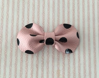 Pink with Black Polka Dots Leather Hair Bow