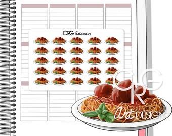 Spaghetti & Meatballs Stickers   Planner Erin Condren Plum Planner Filofax Sticker