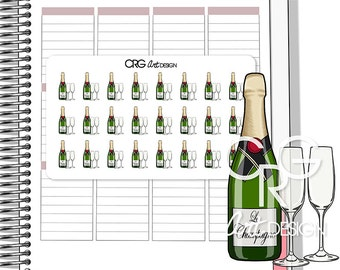 Champagne Bottle and Glasses Stickers | Planner Erin Condren Plum Planner Filofax Sticker
