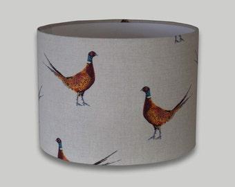 Country Pheasant Drum Lampshade Lightshade Lamp Shade 20cm 25cm 30cm 35cm and 40cm diameter range of depths