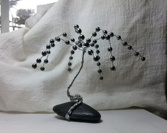 Hematite wire tree sculpture