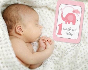BABY MILESTONE CARDS- Showering Elephant Pink- Baby Keepsake- Baby Photo Cards- Baby shower gift
