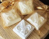 Fleur De Lis Scented Goat's Milk Soap 3.5 oz  : Wedding and Party Favors - Set of 10 with Gold Organza Bag and Customized Tag