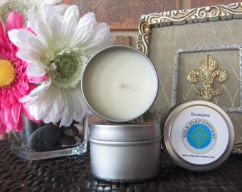 Eucalyptus Scented Soy Travel Candle 4 oz Metal Tin
