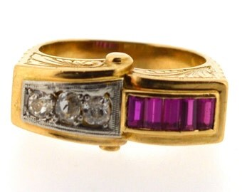 Antique French Ruby and Diamond Dress Ring, Ruby and Diamond Ring, Antique Ruby and Diamond Ring, Vintage Ruby and Diamond Ring, Gold Ring