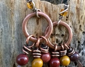 Sterling silver and copper earrings with mookaite jasper beads