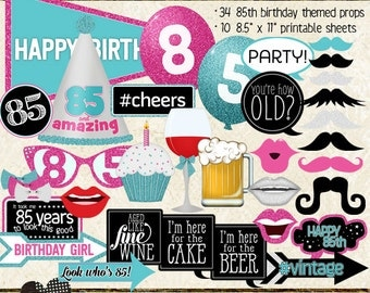 Photo Booth Props, HAPPY 85TH BIRTHDAY, girl, printable sheets, instant download, pink, aqua, silver, party idea