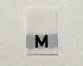 100 pcs White Woven Clothing Sewing Labels, Size Tags, Tabs - Medium, M