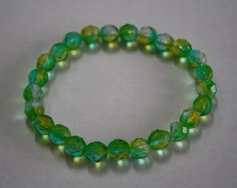 Turquoise and Lime Green Crystal Bracelet, Crystal Bracelet, Turquoise and Lime Green