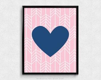 SALE -  Navy Blue Heart, Light Pink Background, White Tribal Pattern, Aztec Print, Baby Girl Nursery, Girl Decoration, Hand Drawn Doodle