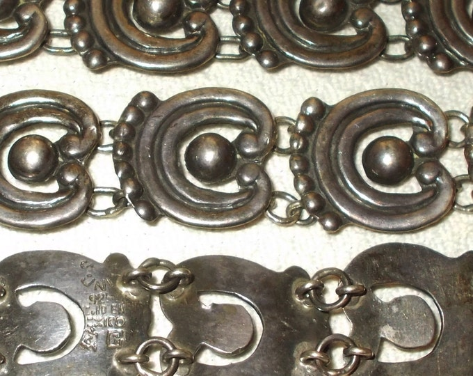 Vintage 50s Artisan Made Taxco Sterling Silver 925 Boho Hippie Chic Cowgirl Mexico Silver Southwestern Signed Chain Link Belt