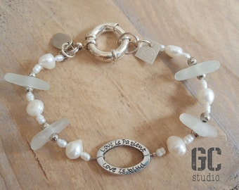 White Seaglass bracelet, beach style, freshwater pearls, sterling silver, nickel free, text bead, unique gift ocean lover.