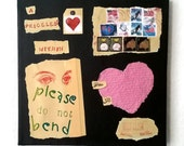 """Abstract Canvas Art, 10"""" x 10"""", Manila Packaging Art, A Priceless Heart Within; Please Do Not Bend"""", Handmade Paper Heart, CA#108"""