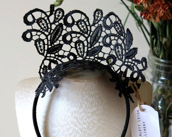 Handmade millinery black lace crown fascinator for Spring Racing