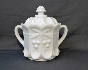 Westmoreland Milk Glass Cherry and Cable Cookie Jar or Biscuit Jar, Handled White Kitchen Jar, Cottage Decor,