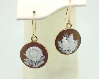 floral cameo drop earrings