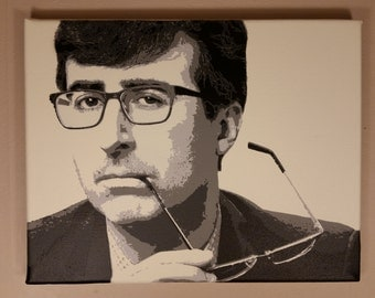 John Oliver multi-layer stencil art spray painting (14 by 11 inches)