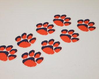 8 Auburn Tiger Paw Print Iron On Appliques