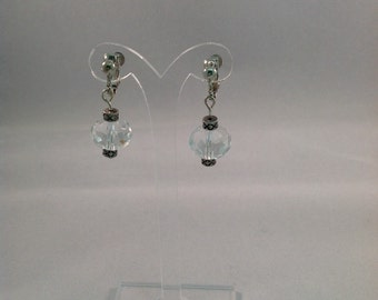 Crystal Ball Dangling Earrings - Clip On