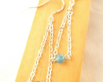 Gemstone earing, Dangle earrings, blue jade, gemstone earring, blue earring, handmade earing, chain earings, long earing,