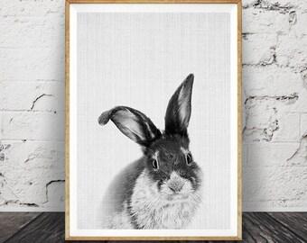 Nursery Rabbit Print, Woodlands Nursery Wall Art, Woodlands Animal, Black and White Rabbit, Printable Nursery Decor, Woodlands Bunny Rabbit