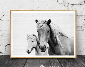 Horse Print, Black and White Photo, Wall Art Photography, Printable Large Poster, Digital Download, Icelandic Horse, Modern Minimalist