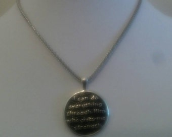 Draw your strength from the Lord Black and Silver Pendant