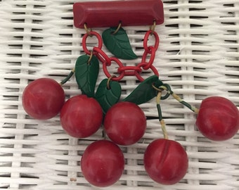 Sale 10% off Rare Vintage Bakelite Cherries Brooch