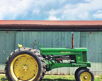 """John Deere Yellow and Green Tractor, Square 5"""" x 5"""", Fine Art Photography, Wall Art Decor"""
