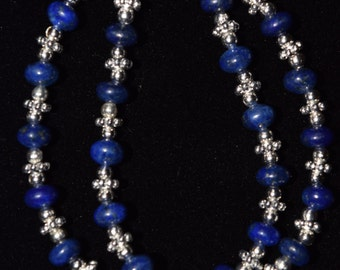Lapis and Silver Double Stranded bracelet