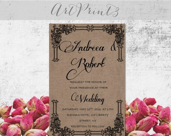 rustic wedding invitation suite vintage wedding invitation frame wedding invitations barn wedding invitation country wedding invitations