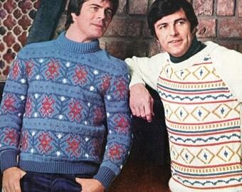 Vintage Men's Ski Sweaters Knitting Pattern PDF Instant Download