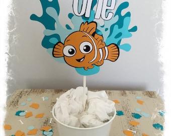 Finding Nemo Cake Topper/Centerpiece with Confetti - Customizable