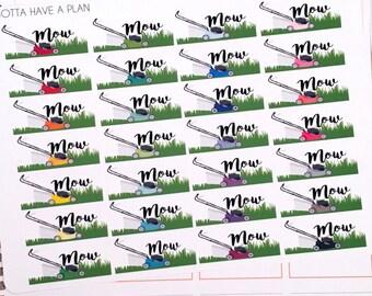 Planner Stickers Mow The Lawn for Erin Condren, Happy Planner, Filofax, Scrapbooking