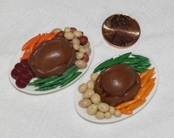 Miniature Dollhouse Food - Turkey Platter