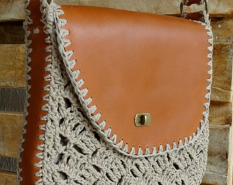 Bag - leather and crochet