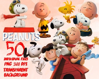 Snoopy and Charlie brown a Peanuts movie  - Clip Art - PNG - transparent - 300dpi - party - printable