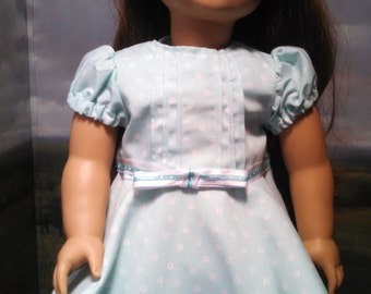 Lovely light green floral pin-tuck dress with a twirl skirt for American Girl Size Doll.   A314