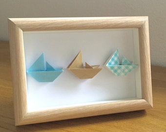 Baby boy boat frame, origami boats, baby boy gift, naming gift, anniversary gift, origami