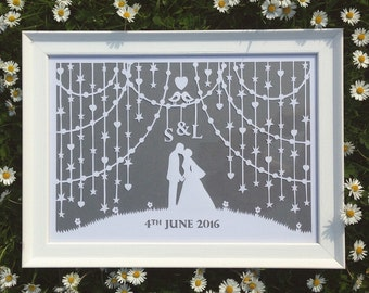 Wedding Papercut - Framed