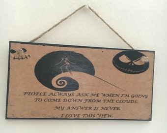 """Nightmare before Christmas inspired ~ """"People always ask me...."""" ~ wall plaque // wall art // home decor"""