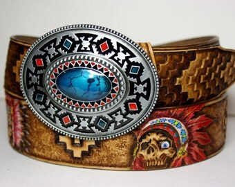 Handmade handtooled leather belt in Indian style with hand-tooled and hand-painted pattern