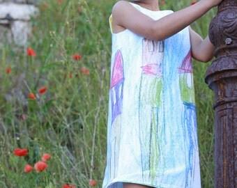Sleeveless printed girls cotton sundress - City