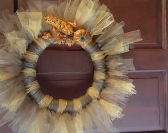 Fall tulle harvest wreath