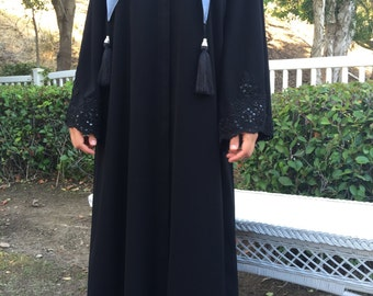Black Custom Made Abaya with French Beaded Lace Trim