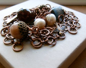 Copper chain kitchen sink necklace,lariat,key, swallows, pearls, agate,sunstone