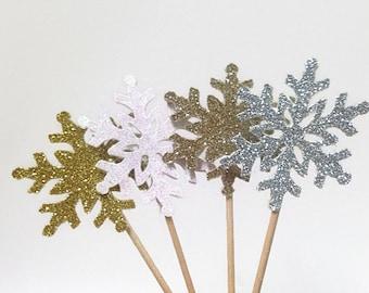 24 Pcs Snowflakes Cupcake Toppers - Glitter Snowflakes - Snowflakes Centerpieces - Christmas Decorations - Christmas Party Decorations