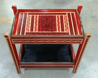 Beautiful Vintage Collapsible Tea Cart with Removable Trays