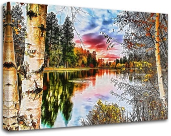 Modern painting landscape, abstract art , canvas print